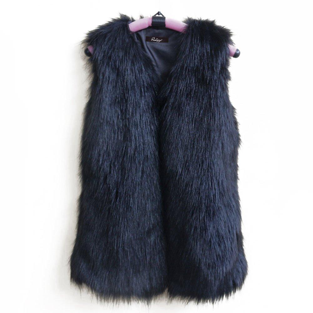 Fhillinuo Fox Faux Fur For Vest Women (Black XL)