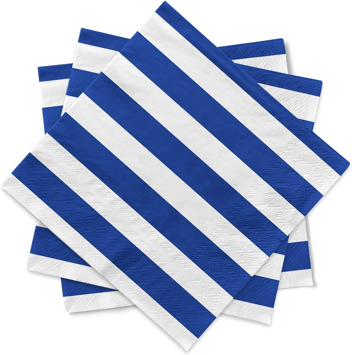Gatherfun Disposable Paper Napkins 3-ply Blue and White Stripe Beverage Napkins for Dinner, Picnic, Birthday Party(6.5X6.5inches, 20-Pack)
