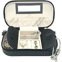 Vlando Small Travel Jewelry Box Organizer - Woman Girls Take-Out Handbags - Faux Leather Tassel Design