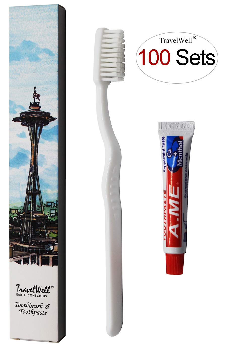 TRAVELWELL Individually Wrapped Hotel Toiletries Amenities Travel Disposable Toothbrush and Toothpaste Boxed 100 Sets per Case Landscape Series