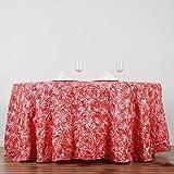 Efavormart 132'' Round Table Cover ROSE QUARTZ Wholesale Grandiose Rosette 3D Satin Tablecloth For Wedding Party Event Decoration