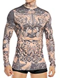 COOFANDY Mens African Tattoo Tribal Style Slim Fit Maui Nude Turtleneck Shirt, Pattern2, X-Small