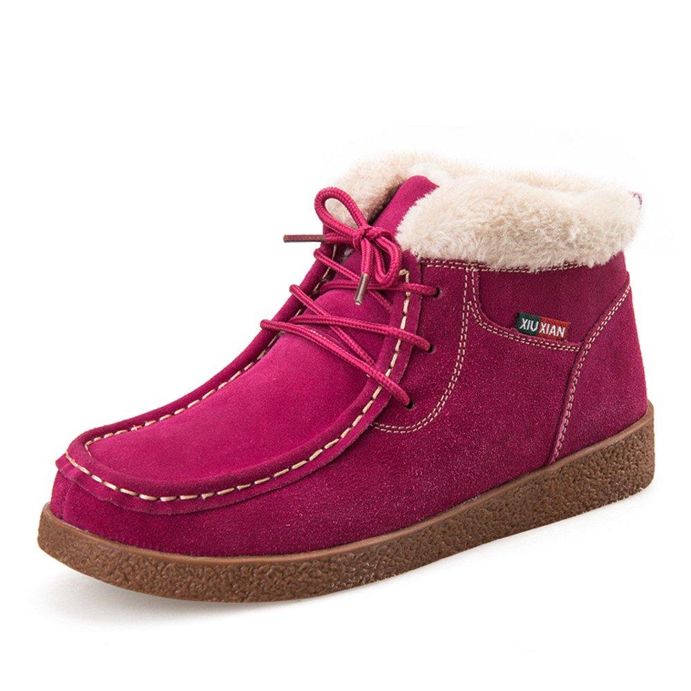 SITAILE Femme Bottines Cuir Plates Fourrées Bottes Boots À Lacets Plateforme Chaussures...