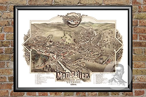 (Ted's Vintage Art Montpelier Vermont 1884 Map Wall Art Print | Museum Quality Matte Paper | Ideal for Home & Kitchen Decor | Digitally Restored Historic Lithograph Poster 18