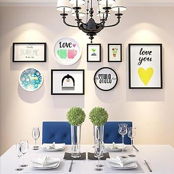 Daeou Salón Xuan Guan decoración pintura combinación dormitorio comedor marco colgante portaretrato de pared: Amazon.es: Hogar