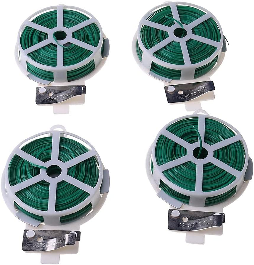 leyeruk 4 Pack 164 Feet (Total 200 M) Twist Tie Multi-Function Garden Plant Wire Ties with Cutter/Cable Tie/Zip Tie/Coated Wire for Gardening