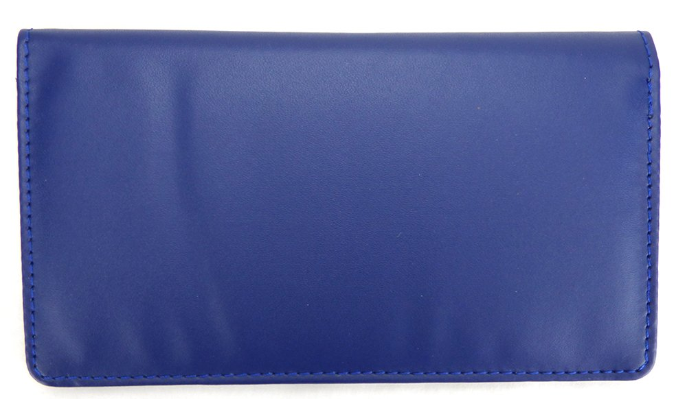 Royal Blue Smooth Leather Checkbook Cover Asian Adores