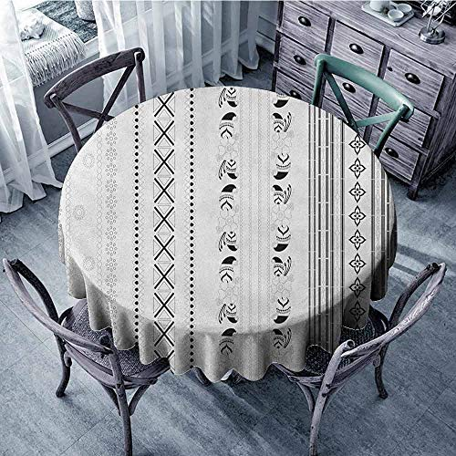 ScottDecor Reusable Round Tablecloth Wrinkle Free Tablecloths Henna,Vertical Stripes with Geometric Floral Old Fashioned Motifs Rangoli Inspired Design, Black White Diameter 36
