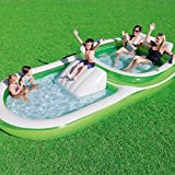 Bestway H2OGO! Two-In-One Wide Inflatable Family Outdoor Pool, Features Dual Pool and Slide Combo, Cup Holders, Easy Set Up, Green/White 2 Pack