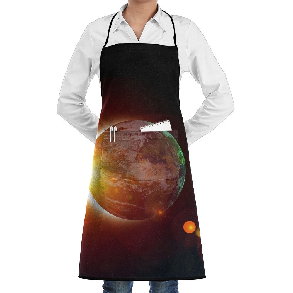 Kitchen Chef Bib Apron Solar Eclipse Picture Neck Waist Tie Center Kangaroo Pocket Waterproof