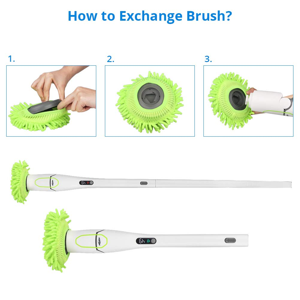Spin Scrubber, ADPOW Upgraded Electric Spin Scrubber with LED Display, Cordless Power Household Extension Handle Shower Cleaner Including Scrubber Brushes Mops Sponge and Storage Rack by ADPOW (Image #6)