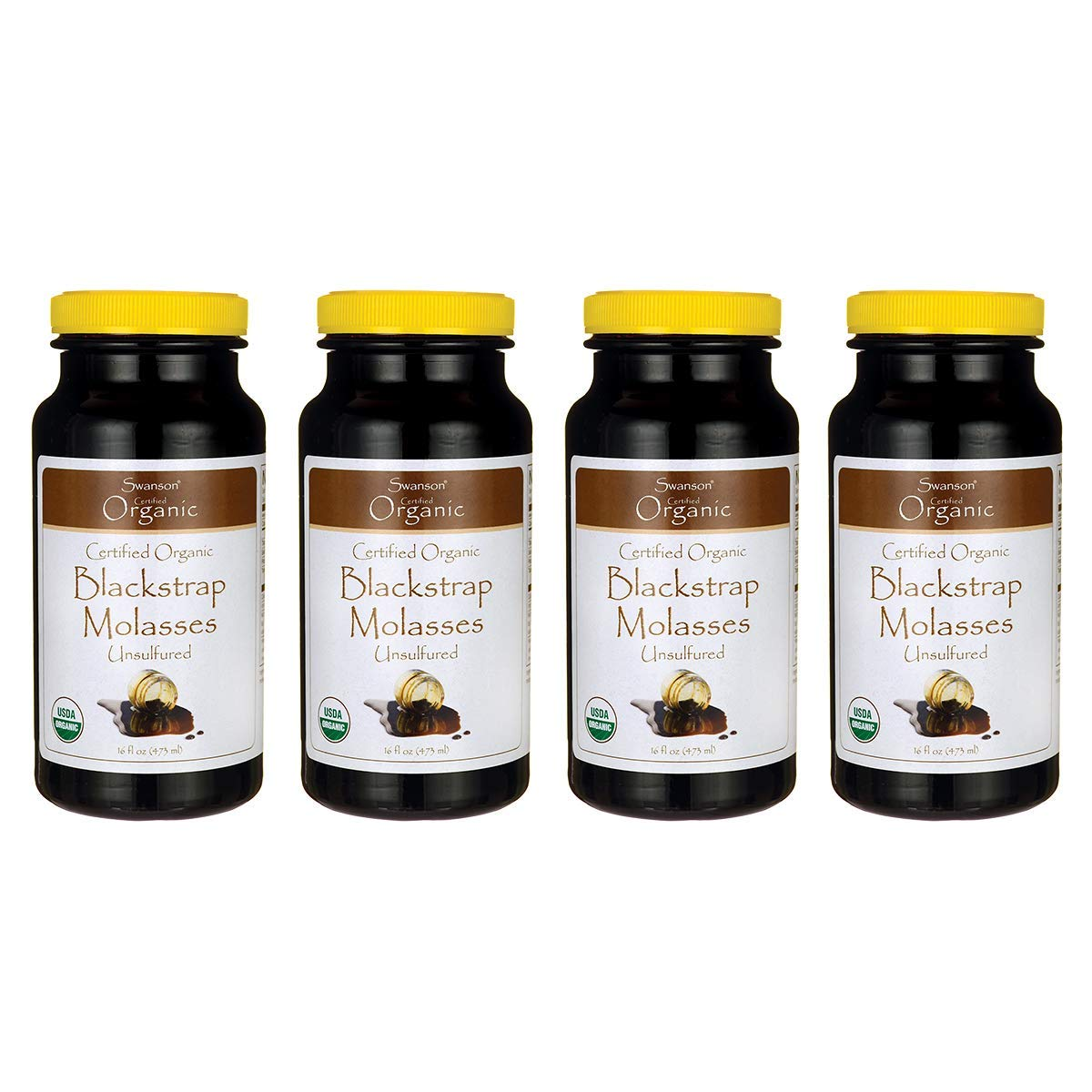 Swanson Certified Organic Blackstrap Molasses 16 fl Ounce (473 ml) Liquid (4 Pack)