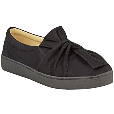 Fashion Thirsty Womens Sneakers Slip On Flat Bow Trainers Faux Suede Plimsolls Shoes Size  B01MYBYQTV