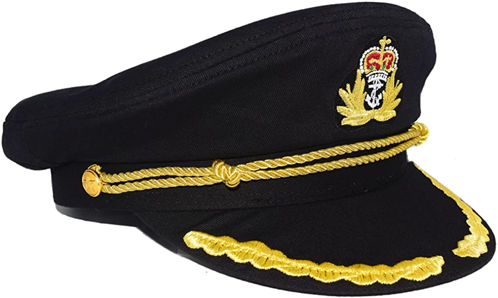 Admiral Captain Yacht Hat Snapback Gold Embroidery Anchor Skippers Cap for Party