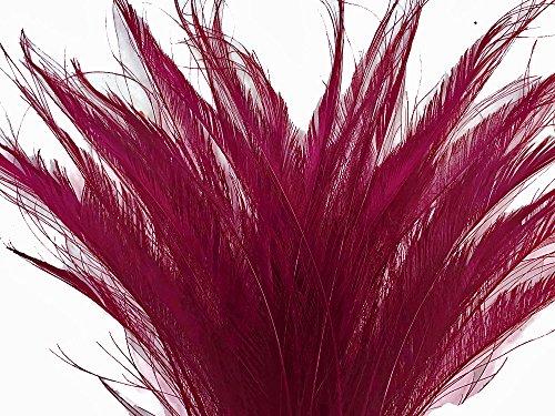 50 Pieces - Burgundy Bleached Peacock Swords Cut Wholesale Feathers -