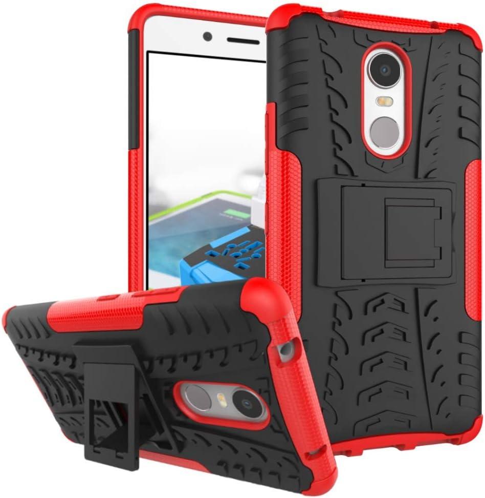 pinlu® Funda para Lenovo K6 Note (5.5 Pulgada) Smartphone Doble Capa Híbrida Armadura Silicona TPU + PC Armor Heavy Duty Case Duradero Protección Neumáticos Patrón Rojo: Amazon.es: Electrónica