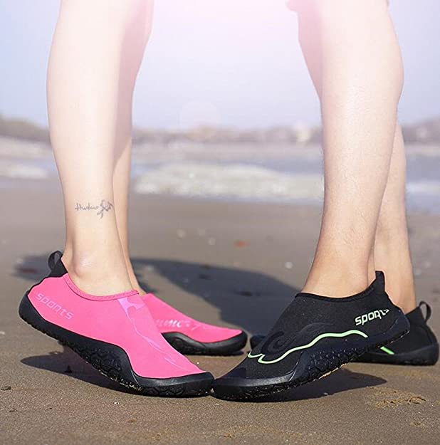 Zapato de Agua Hombre Mujer Descalzo Playa Acuático Calcetines Nadada Yoga Resaca Natación Calzado Negro Azul Rosado 36-47: Amazon.es: Zapatos y ...