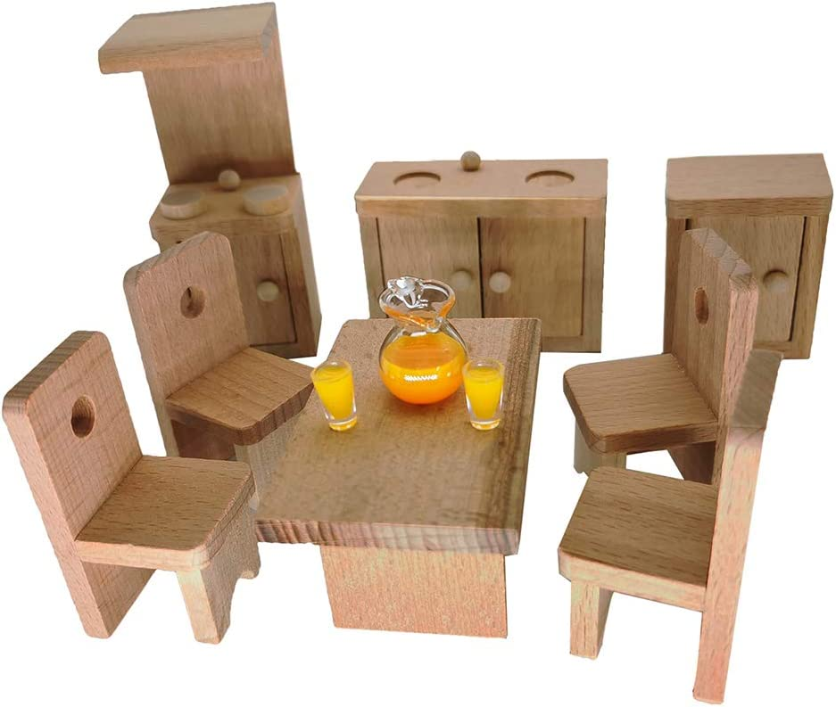 Warmtree Wooden Classic Doll House Furniture Wood Miniature Kitchen Set and Mini Juice Pot Cups Pretend Play House Furniture Dollhouse Decoration Accessories