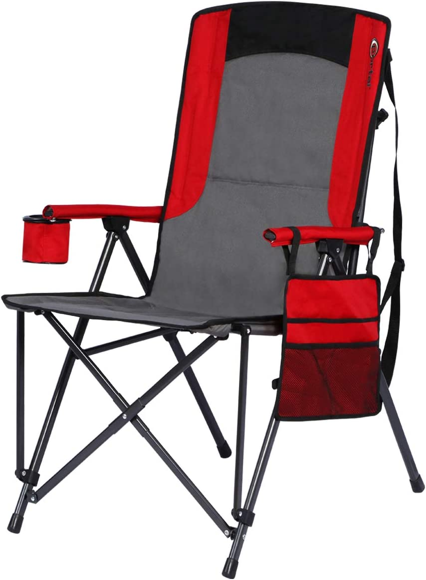 Portal Oversized Quad Folding Camping Chair High Back Cup Holder Hard Armrest Storage Pockets Carry Bag Included, Support 300 lbs