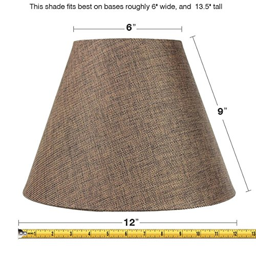 6x12x9 Hard Back Empire Lampshade Chocolate Burlap By Home Concept - Perfect for small table lamps, desk lamps, and accent lights -Medium, Brown (Parchment Harp Lamp Shades)