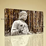 Stretched Hd Canvas Print Contemporary Abstract Wall Art Buddha Feng Shui Bamboo Extra Large Wall Art, Gallery Wrapped, by Bo Yi Gallery 36''x24''