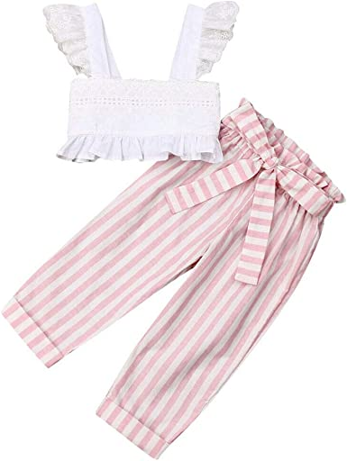 Toddler Baby Girl Striped Summer Casual 2Pcs Clothes Ruffle Tops+Pants Outfits