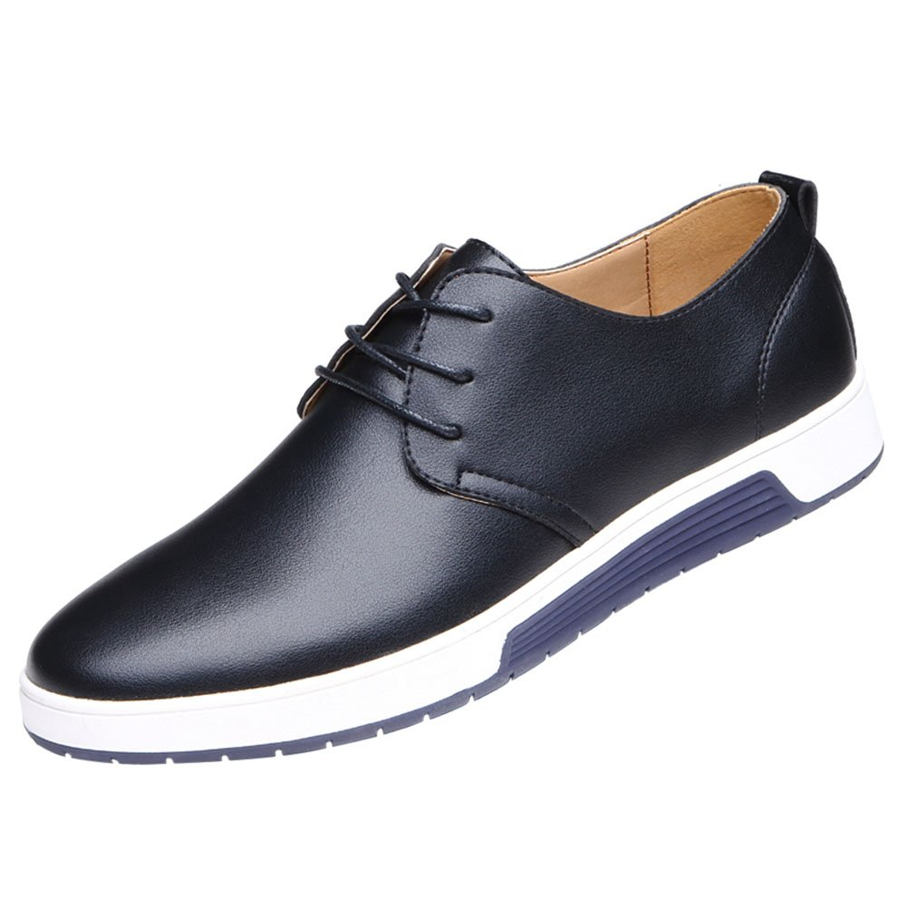 Qco Men S Classic Casual Oxford Flats Sneakers Shoes Lace Up