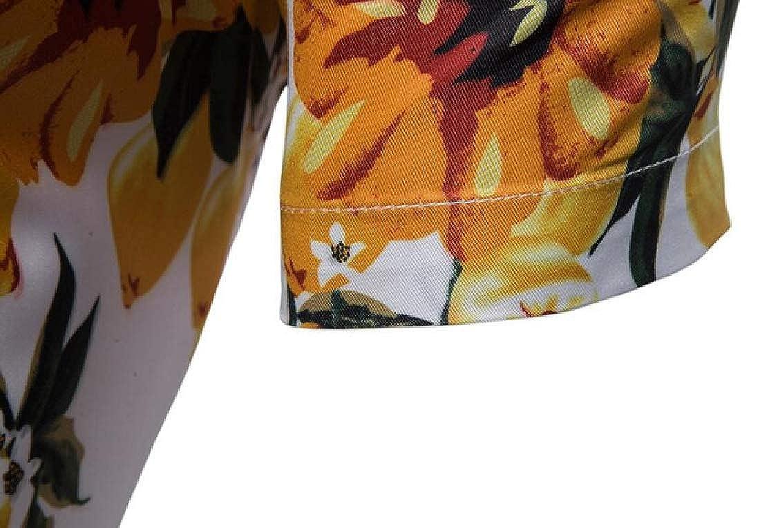 Domple Men Short Sleeve Slim Beach 3D Print Summer Summer Lemon Button Down Blouse Shirt