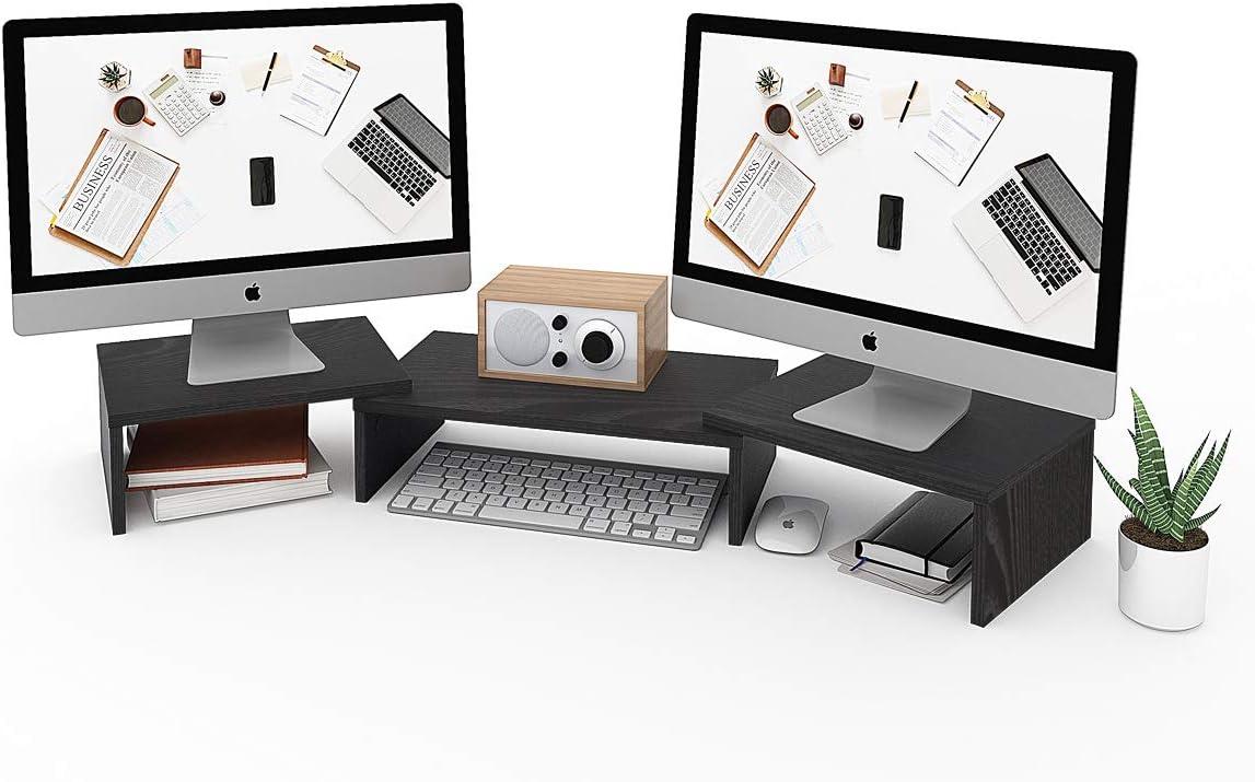 DEVAISE 3 Shelf Monitor Stand Riser with Adjustable Length, Desktop Screen Stand, Black