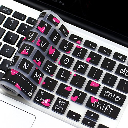 """Masino Silicone Keyboard Cover Ultra Thin Keyboard Skin for MacBook Air 13"""" MacBook Pro with or without Retina Display 13""""15"""" 17"""" Apple Wireless Bluetooth Keyboard MC184LL/B (Hot Pink Hearts)"""