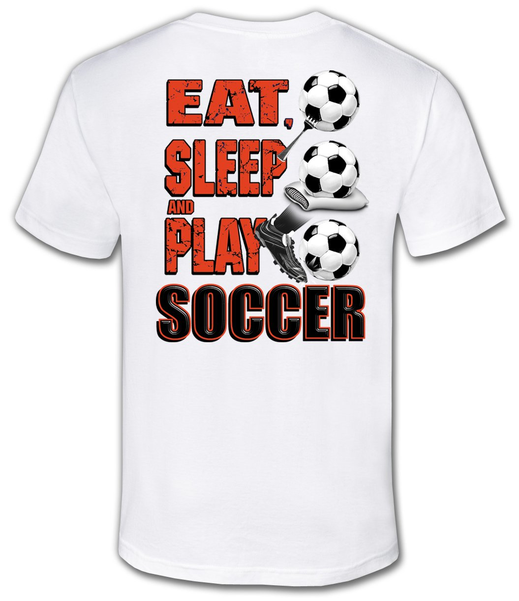 Soccer Tシャツ: Eat Sleep Play Soccer B00Q3BTUMO Youth Large|ホワイト ホワイト Youth Large