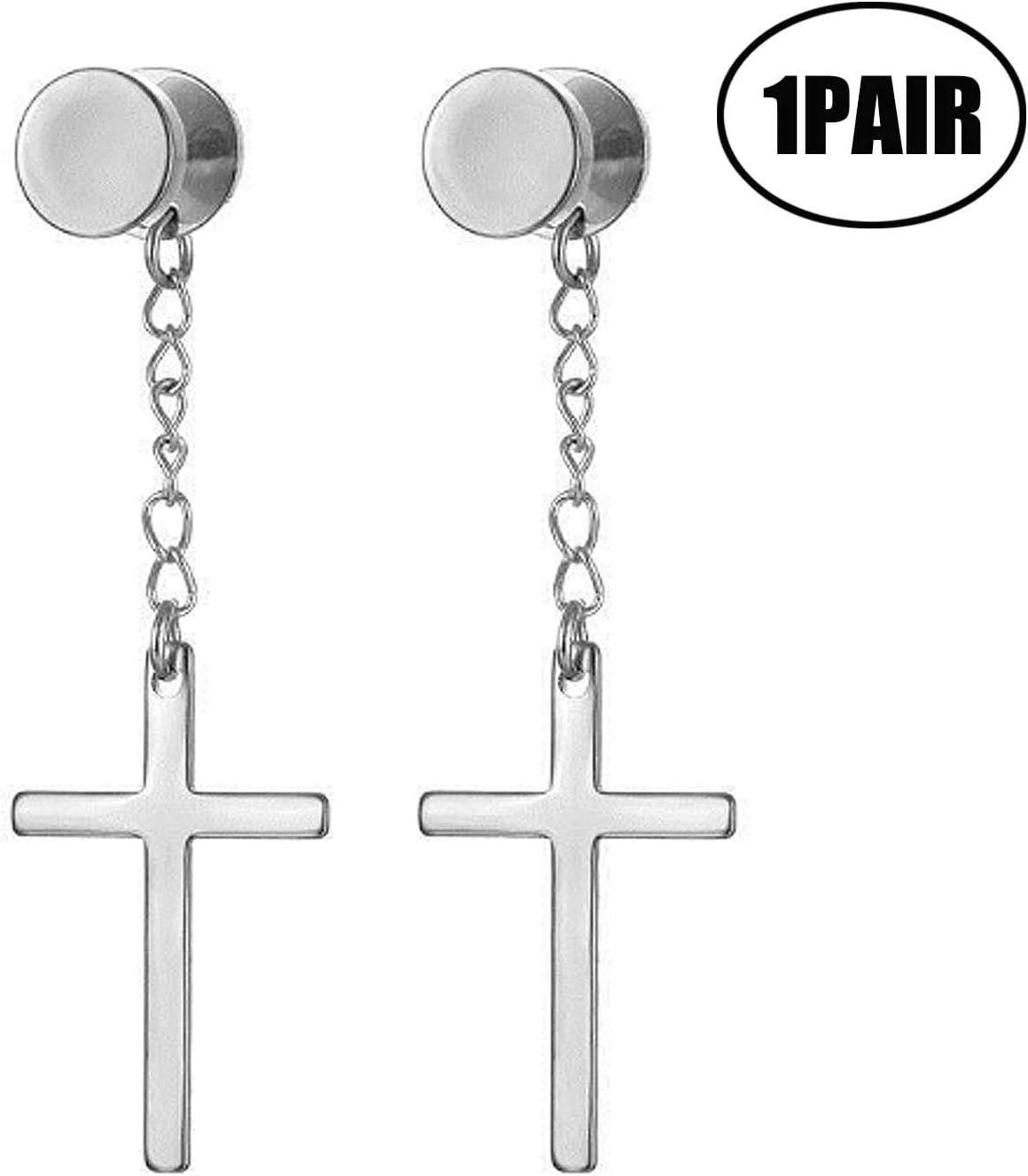 JZZJ 1 Paire Cercle Boucles doreilles avec Pendantes Croix Acier Inoxydable Revisser(-) pour Homme Femme Gar/çons