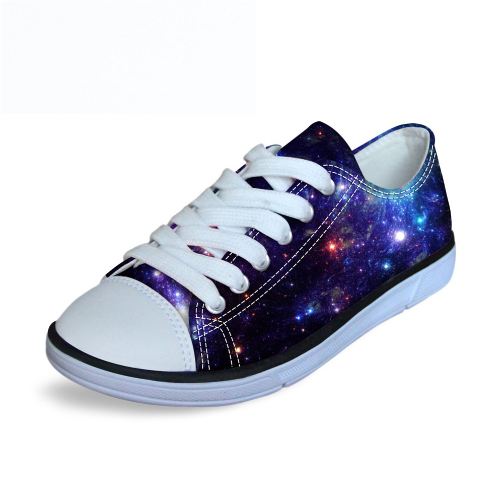 FOR U DESIGNS Cool Blue Night Sky Print Big Kids Boys Girls Canvas Walking Shoes Lace Up US 1