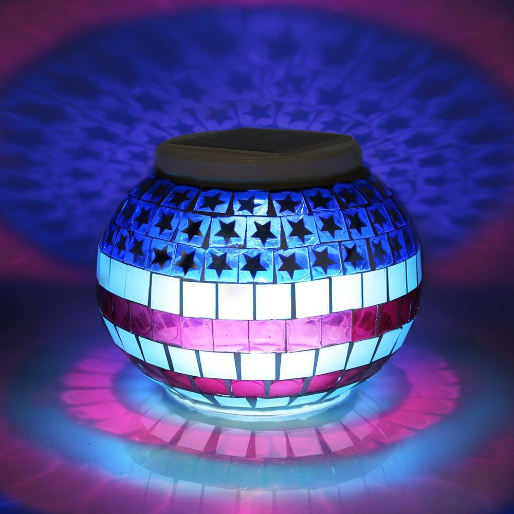 Solar PoweredモザイクガラスボールLEDライトの色変更。。。 PW601 B0781FYBXP 10258  Teardrop
