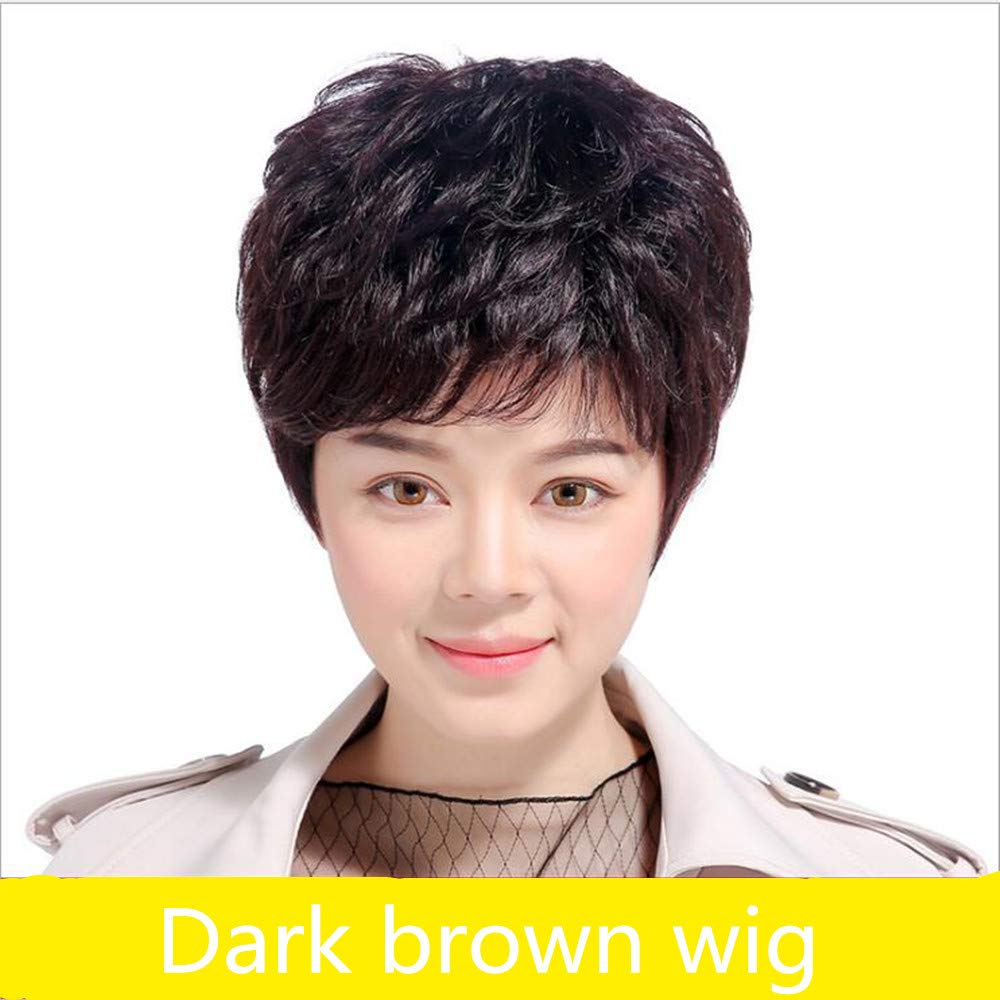 Wig Women's women's dark brown short curly hair elegant lady fluffy lady synthetic hair