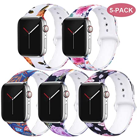 Exchar Compatible With Apple Watch Band Floral 40mm 38mm 44mm 42mm Women Soft Comfortable Silicone Replacement Sport Band For I Watch Series 4/3/2/1 With Cute And Durable Pattern Printing by Exchar