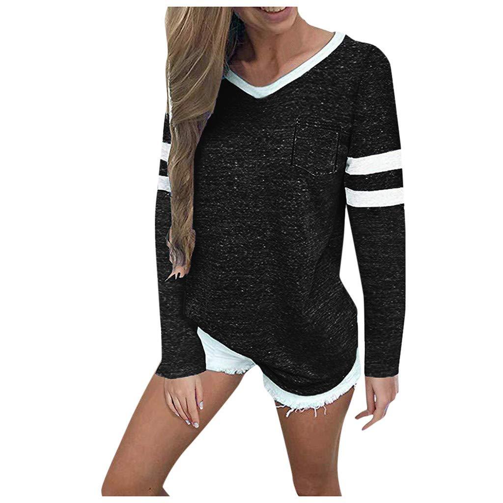 SHUSUEN Womens Long Sleeve Round Neck T Shirts Color Block Striped Causal Blouses Tops Black by SHUSUEN