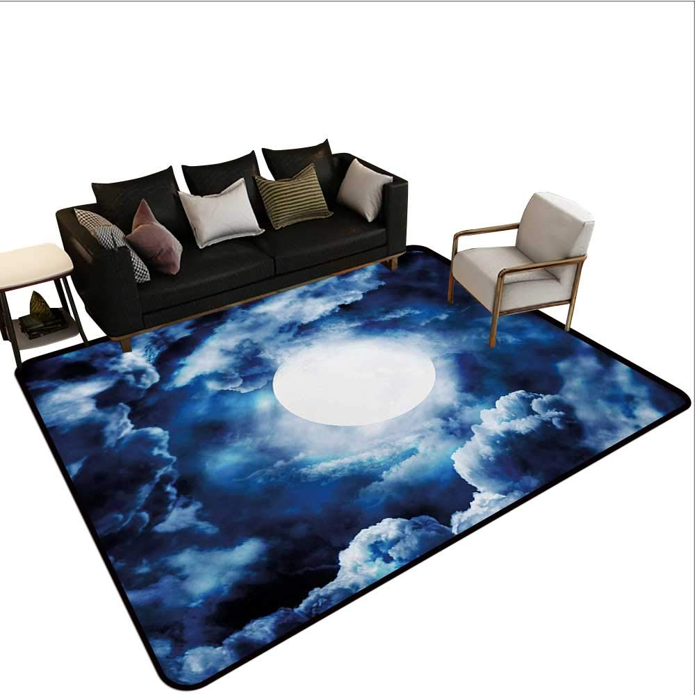 color07 W6'xL8' Decorative Floor mat,Night Sky on Mountain Range Forest Crescent Moon Star Cosmic Infinity Astral Graphic 6'6 x8',Can be Used for Floor Decoration