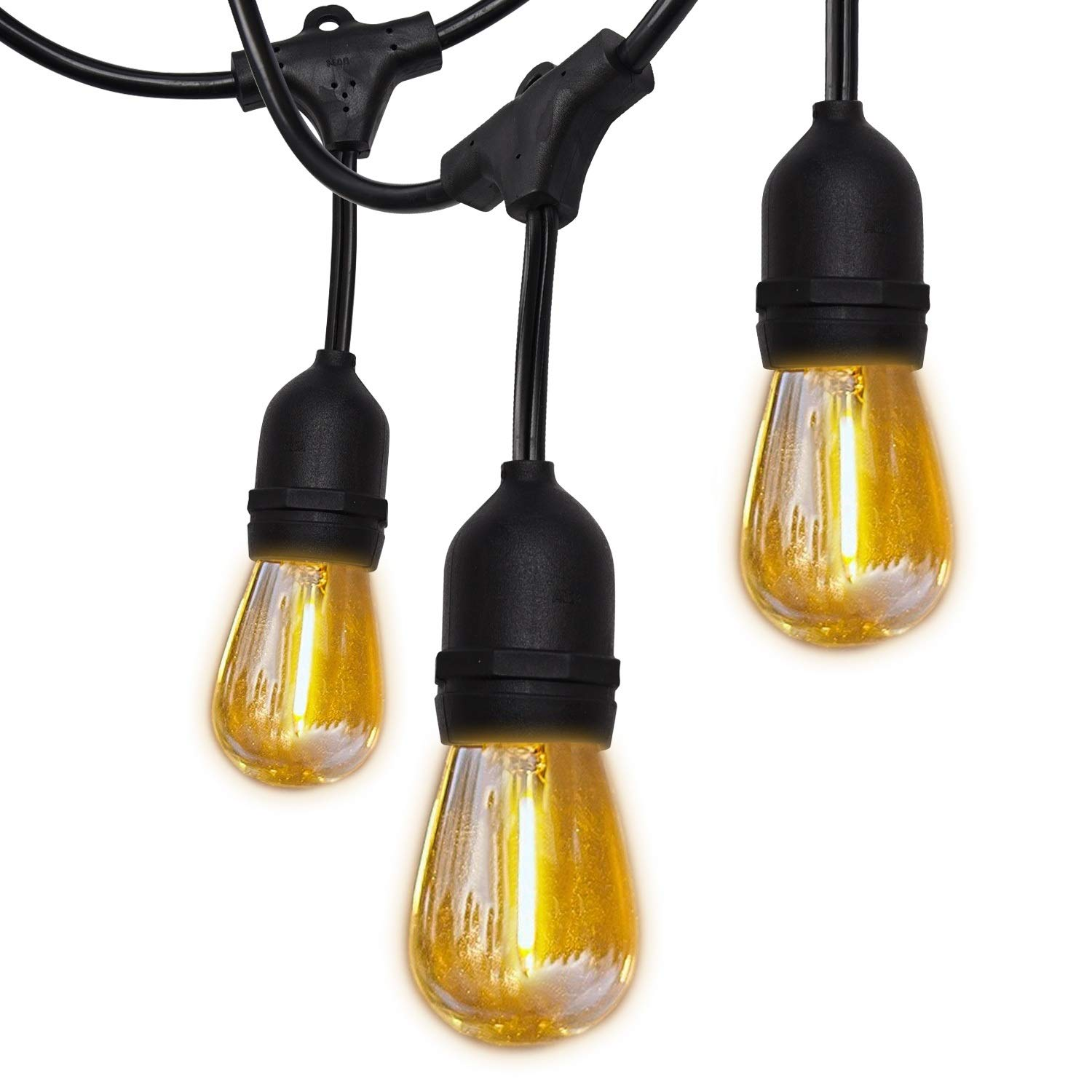SUPERDANNY 52FT Shatterproof LED Outdoor String Lights UL Approval Commercial Grade Waterproof 26 (2 for Spare) Edison Bulbs 30pcs Cable Ties Weatherproof Plastic Bulb