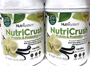 NUTRISYSTEM NutriCrush Shake (Protein & Probiotics) Vanilla Shake Mix (2 CONTAINERS) - Support Digestive Health & Help Bust Belly Bloat…