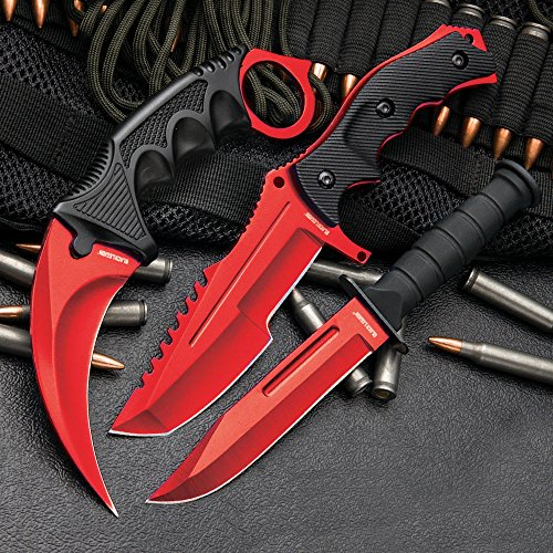 CSGO 3-Pc. Knife Set Atomic Red | Karambit - Huntsman - Military Knife by Black Legion