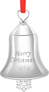 2020 Sleigh Bell Ornaments Silver-Plated Christmas Holiday Ornament -Christmas Bell Ornament - Engraved Merry Christmas Bell 2020 Annual Edition,Bell Hanging Decoration Christmas Tree with Gift Box