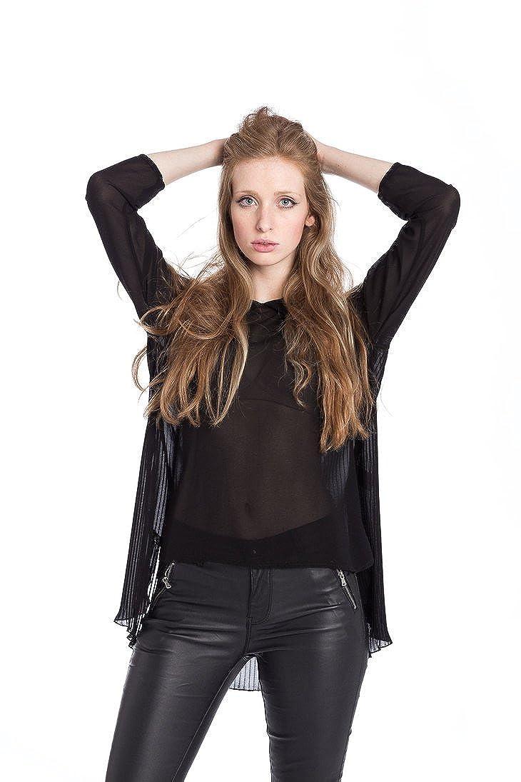 Abbino 5436 Blusa Top para Müjer - Hecho en ITALIA - 2 Colores - Primavera Verano Otoño Invierno Mujeres Elegantes Camisas Manga Larga Casual Viscosa De Un ...