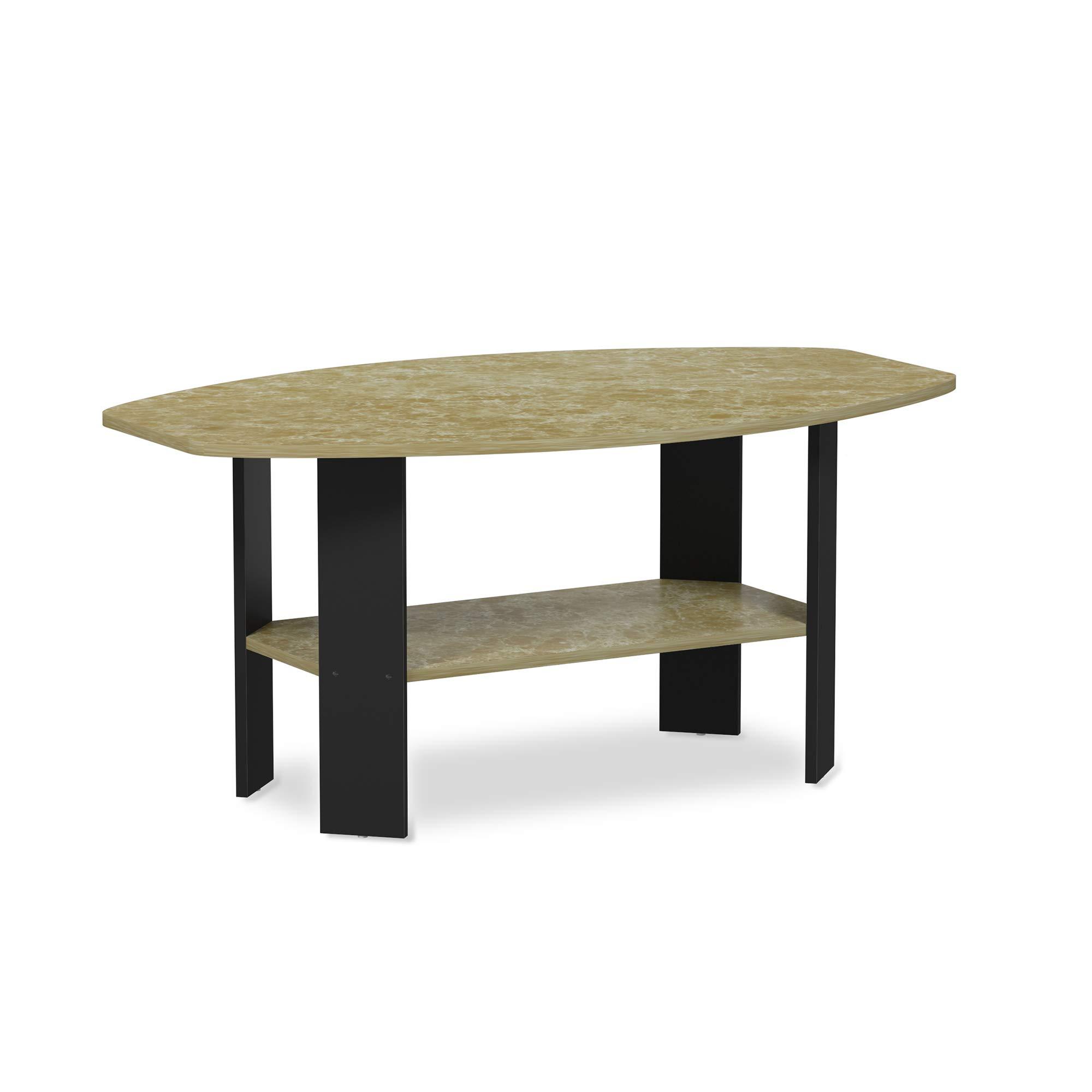 FURINNO 11179BRM Simple Design Coffee Table, Brown Faux Marble/Black by Furinno