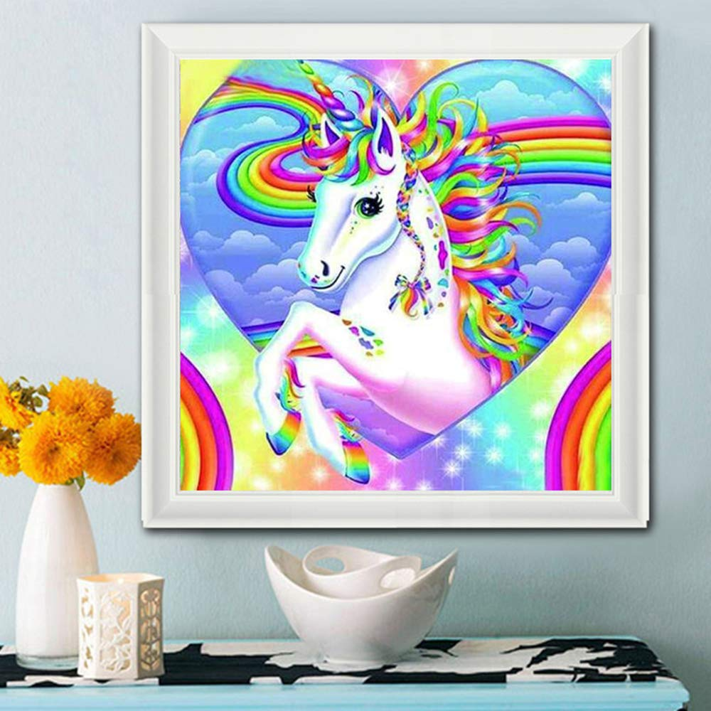 DCIDBEI 5D Diamond Painting Full Drill Clearance,5d Diamond Painting Unicorn,DIY Diamond Art Rhinestone Embroidery Cross Stitch Kits Supply Arts Craft Canvas Wall Decor Stickers Home Decor 30x30 cm