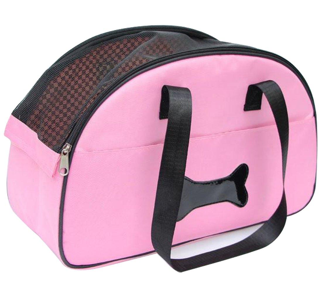 Lende Pet out supplies fashionable portable grid handbag pet bag carrying bag (pink)