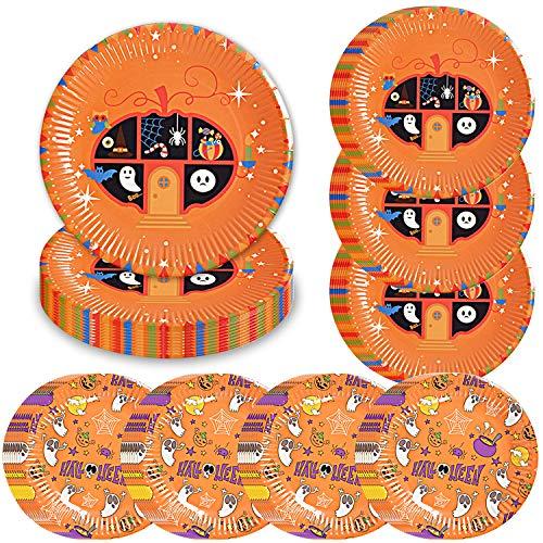Halloween Desserts For Parties (Halloween Party Supplies Pack for 50 Guests Halloween Pumpkin Color 50 Dinner Plates 50 Dessert)