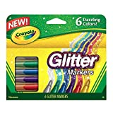 Crayola Canada Glitter Markers, 6-Count, Adult Colouring, Bullet Journaling, School and Craft Supplies, Drawing Gift for Boys and Girls, Kids, Teens Ages  5, 6,7, 8 and Up, Holiday Toys, Stocking Stuffers, Arts and Crafts