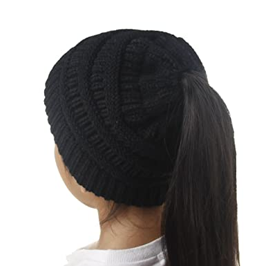 d509d205b7f49 Anycosy Fashion Bun Ponytail Hat Women Soft Knitted Crochet Baby Warm  Sports Beanie Cap(Black)  Amazon.co.uk  Clothing