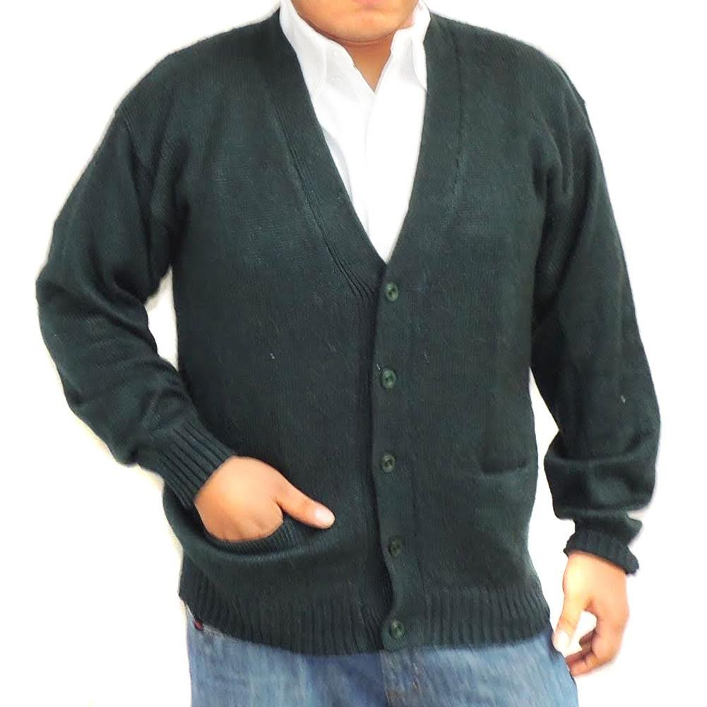 ALPACA CARDIGAN GOLF SWEATER JERSEY V neck buttons and Pockets made in PERU DARK GREEN L